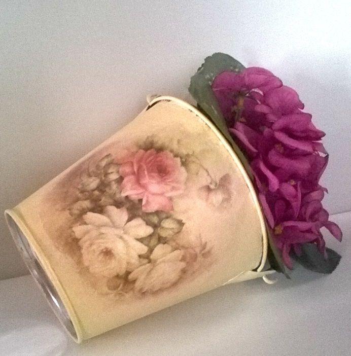 Handmade Decorated Bucket - Flower Pot