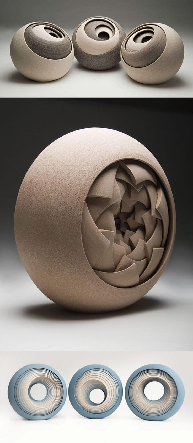 Contemporary Ceramic Sculptures by Matthew Chambers.  His works were born of a love for geometric shapes and constructivists, combined with the earthy tones of the ceramic. Each piece is constructed from multiple concentric layers that form circular objects.