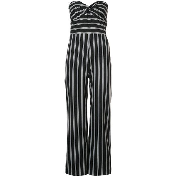Veronica Beard striped bustier jumpsuit ($1,015) ❤ liked on Polyvore featuring jumpsuits, jumpsuit, black, wide leg jumpsuit, veronica beard jumpsuit, strapless jumpsuit, veronica beard and sweetheart bustier