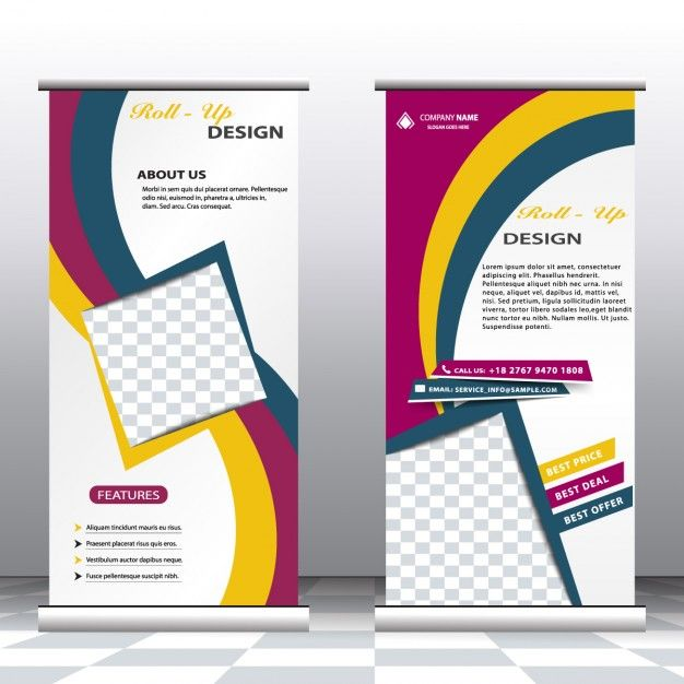 Business roll up banners Free Vector