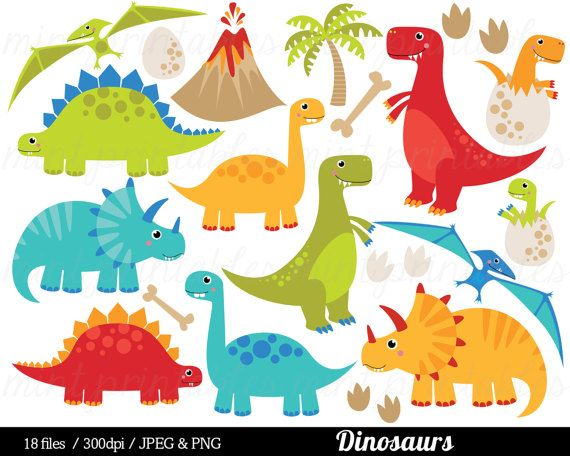 The Dinosaur Digital Clip Art Set includes 18 PNG files with transparent backgrounds ans 18 JPG files with white backgrounds. All the images are 300dpi and 11 inches at their tallest or widest point. Mint Printables watermark will not appear in the files. Clipart is great for creating