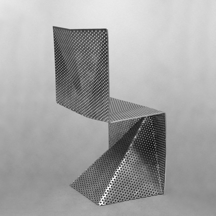 angled chair | chair aluminium perforated cantilever tobias labarque furniture ...