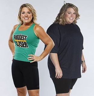 "Abby Rike lost over 100 pounds on The Biggest Loser show and afterwards at home. She gained the weight following the death of her husband and two children in a car accident. She has written a book about her experiences called ""Working It Out"". Weight lost from 247 to 147 lbs. I have a similar physique so am very inspired. Way to go, Abby!"