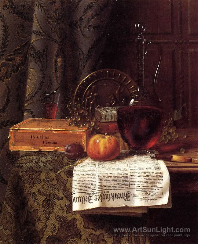 Still Life with Decanter and Frankfurter Zeitung - William M. Harnett