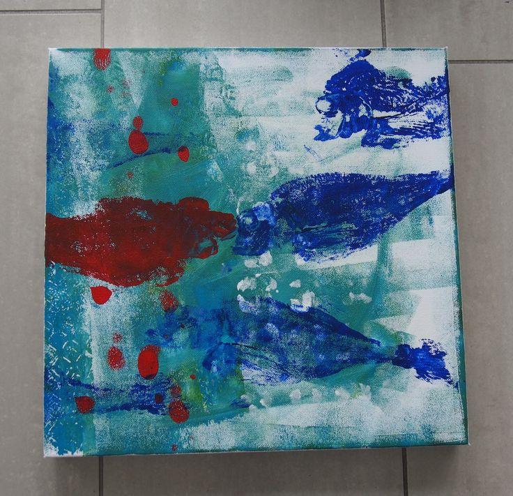 roter Fisch 50x50 cm Mischtechnik auf 3D Leinwand