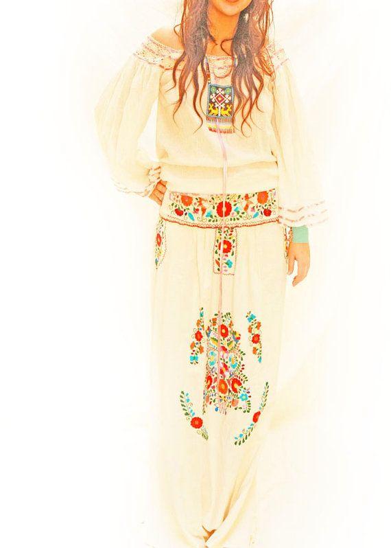 Bohemian love gypsy Mexican blouse bell sleeves by AidaCoronado, $97.00