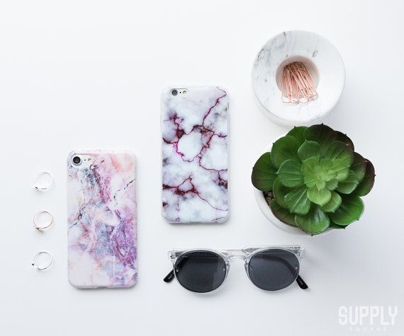 iPhone 6/6s Case White & Pink Marble White by supplysquare