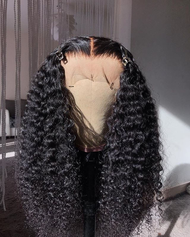 Free Shipping Advanced Bleached Knots Tight Curls Middle Part 360 Lace Frontal W…