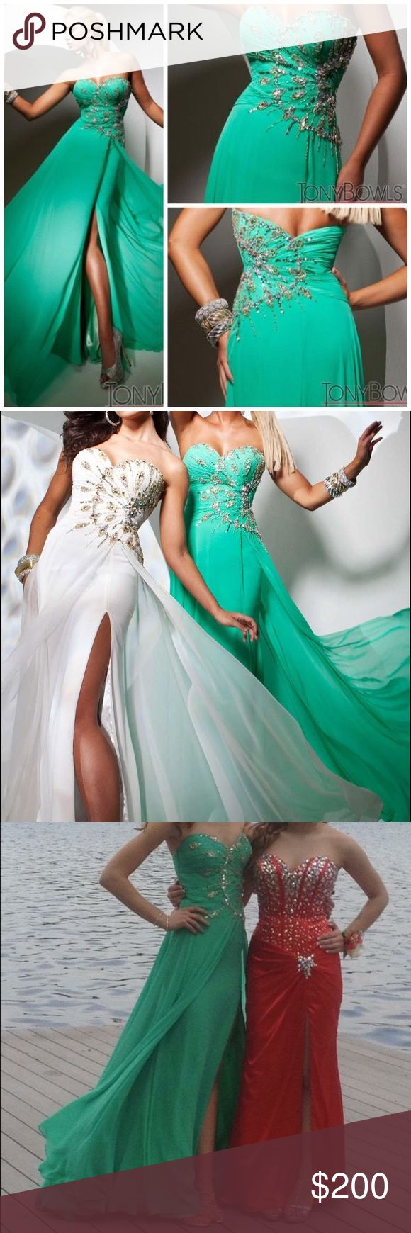 Tony Bowls Green Strapless Sweetheart Prom Dress Tony Bowls 113506. Worn to one prom, altered from size 6 to fit size 00/0. Great condition. Tony Bowls Dresses Prom