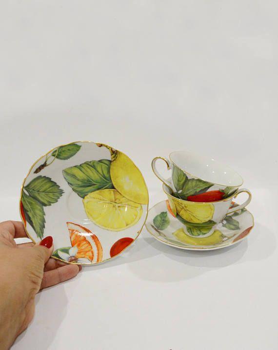 English porcelain Set 4 cups 4 saucers Vintage cups