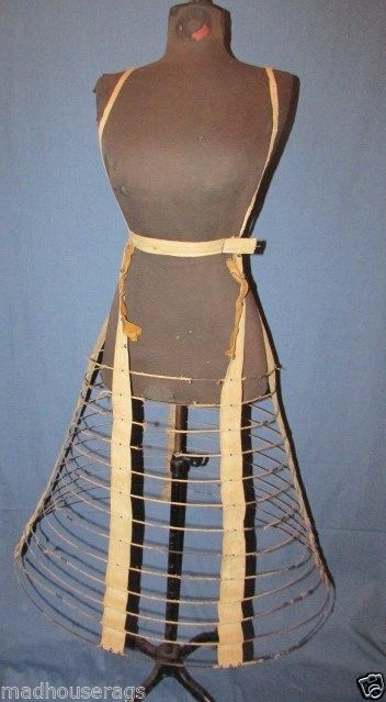 CRINOLINE WITH SHOULDER STRAPS, STAMPED WENTWORTH, NH, 1855 PATENT BUCKLE   A great example of a smaller work hoop, including shoulder straps