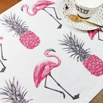 Flamingos And Pineapples Tea Towel