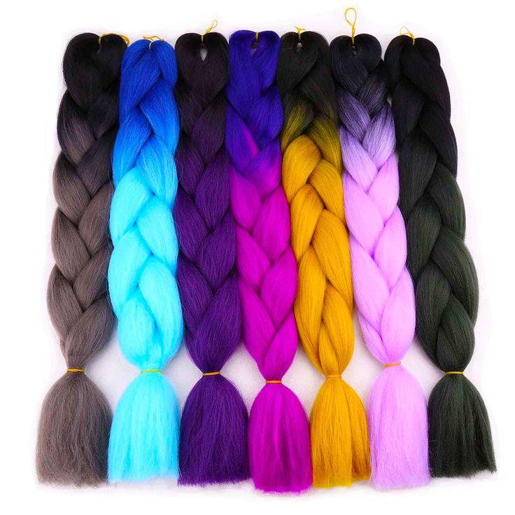 "Amir  24"" 100g Expression Jumbo braids 2Tones hair Kanekalon Braiding Hair Purple Green synthetic hair Extensions Crochet braids"