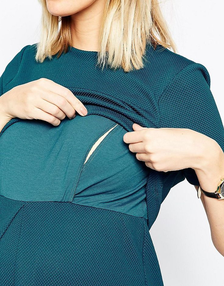 Изображение 3 из Фактурное приталенное платье для кормящих мам ASOSMaternity