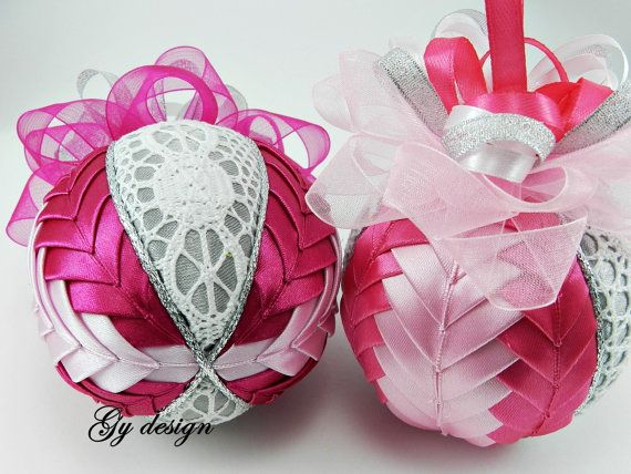 Lace ornament quilted ornaments  xmas baubles gift idea Christmas baubles patchwork ornaments fabric Christmas ornaments pink bauble