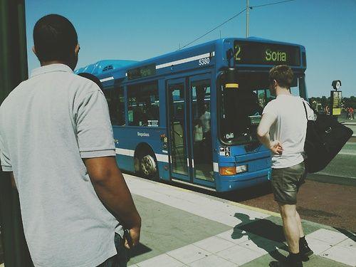 Waiting for the bus, Slussen, Stockholm.