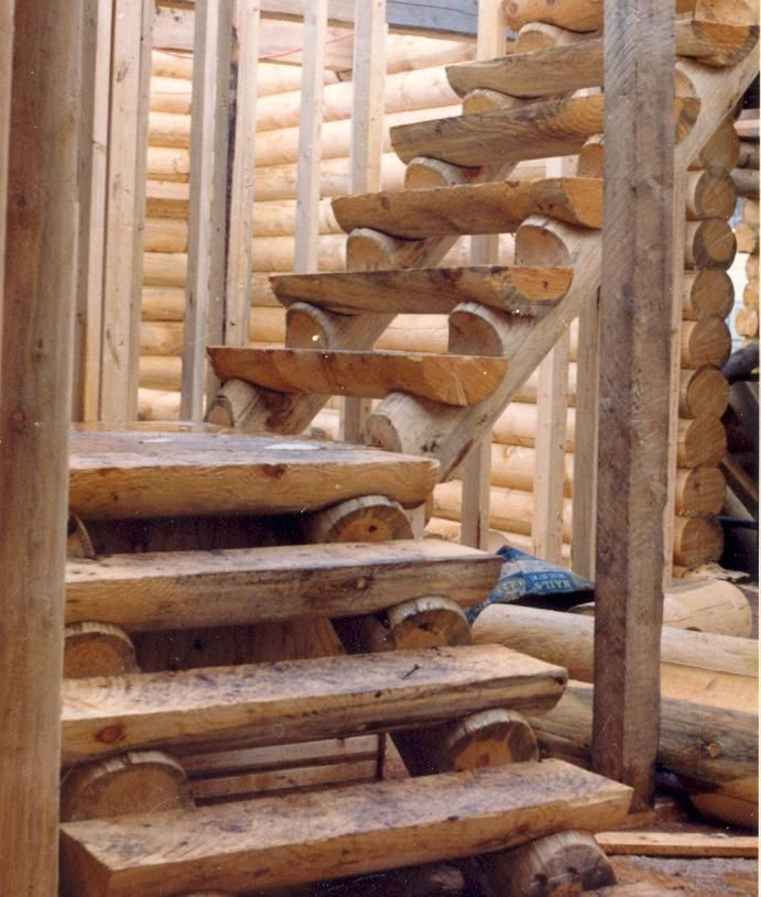 Rustic Log Railing ~ Log staircases diy dream home pinterest