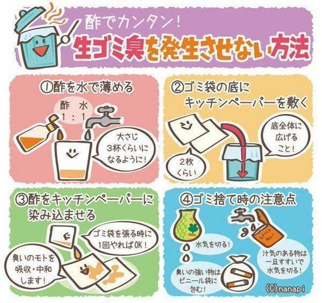生ゴミの臭いを発生させない方法…薄めたお酢をキッチンペーパーに染み込ませ、ゴミ袋の底に敷いておく。生ゴミから出た汁を 吸いとって酢で中和するので不思議と臭くならないよ!