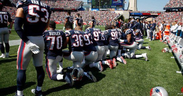 Approximately 20 New England Patriots football players decided to showcase their hatred for America and took a knee during the National Anthem. The Foxborough Massachusetts crowd rained down a cho…