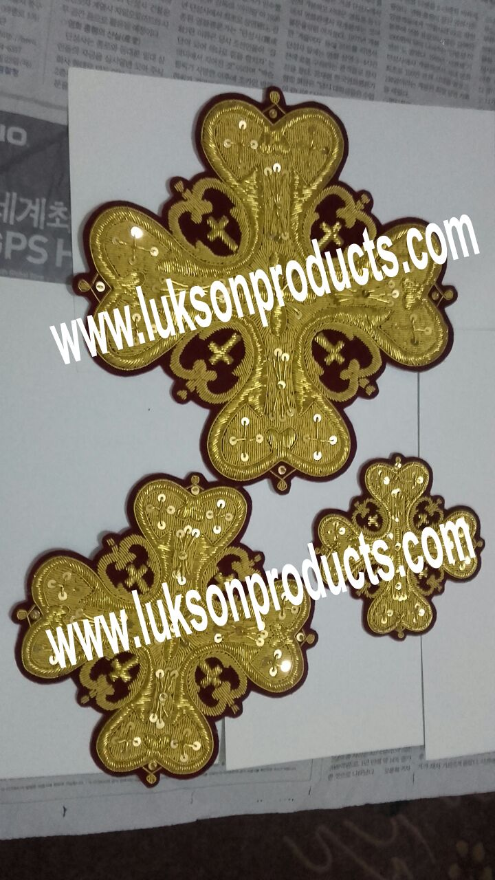 Our Live Hand Made Golden Thread Embroidery Vestments Crosses Sets