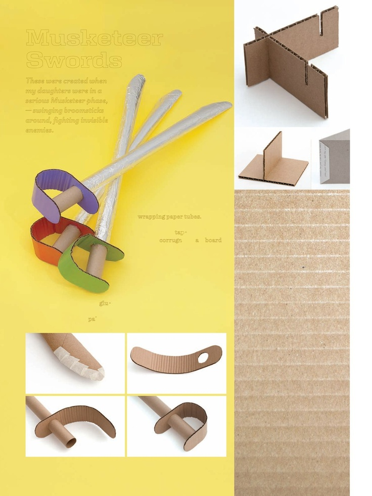 Musketeer Swords ... made from wrapping paper tubes, cardboard & aluminum foil.  Cute idea!