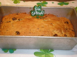 SODA BREAD...easy recipe baked in a loaf pan...add soaked raisins ...