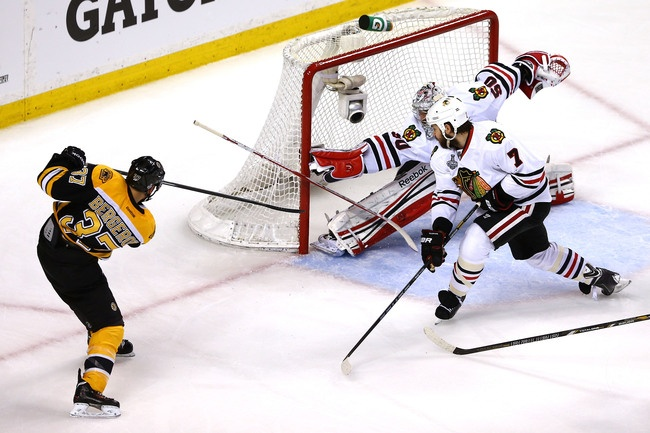 Patrice Bergeron cracked Chicago's penalty kill.  Elsa/Getty Images 2013 Stanley Cup Finals
