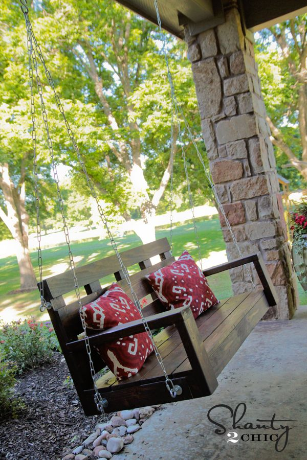 DIY Wood Porch Swing - http://www.hometalk.com/1648951/diy-wood-porch-swing