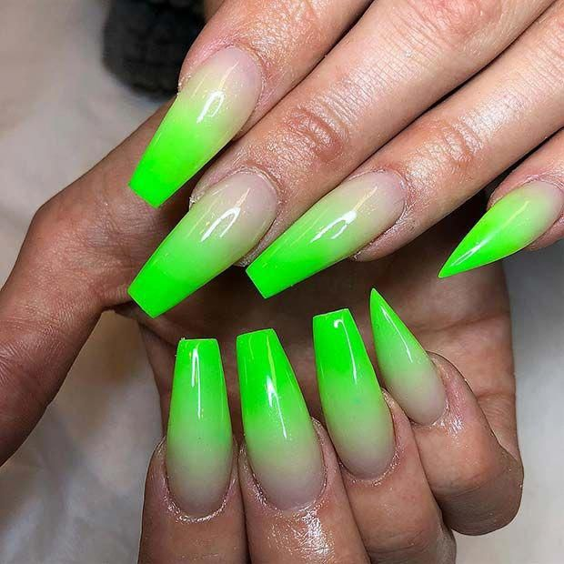 Lime Green Ombre Coffin Nails Ombrenails Green Acrylic Nails Lime Green Nails Green Nails
