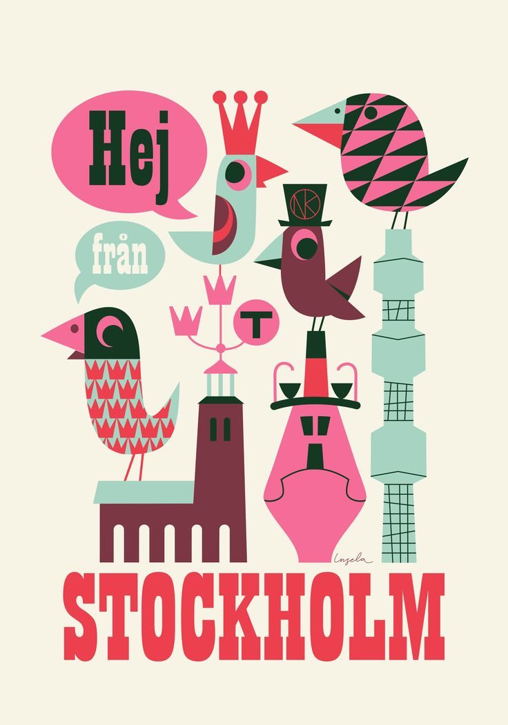 Hej från Stockholm poster  By Swedish graphic artist Ingela P Arrhenius.