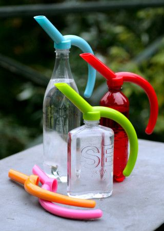Modern Gardening Tools -- a friend of mine brought 3 of these back from Sweden for me.  I use my nifty bottle toppers/pour spouts on 2 liter bottles and they are great for watering indoor or outdoor plants, or just adding them to the top of 2 liter soda bottles at a BBQ or such to make it easier to handle and pour.  I absolutely love mine!    Can be purchased here:  http://www.thebalconygardener.com/shop/gardening-tools--aids/eco-watering-can-bottle-adaptor/