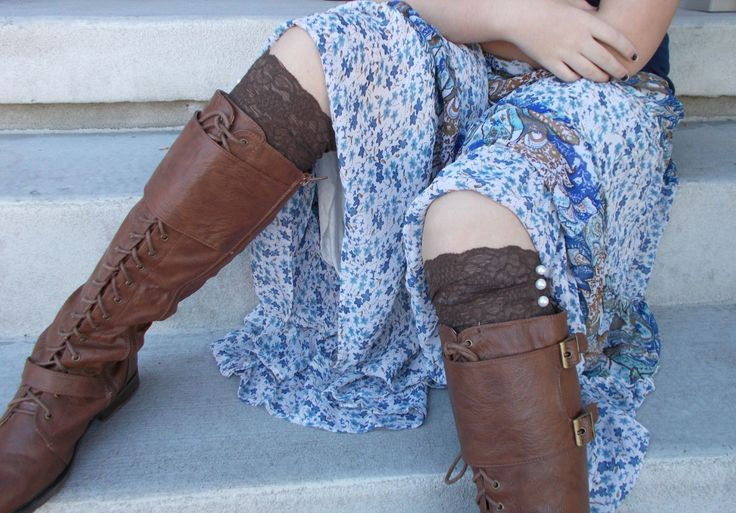 Brown Lace Boot Cuffs, Lace Boot Socks Buttons, Stocking Stuffers for Teen Girls, Small Gifts for Women, Lace Leg Warmers, Boot Accessories by foreverandrea on Etsy
