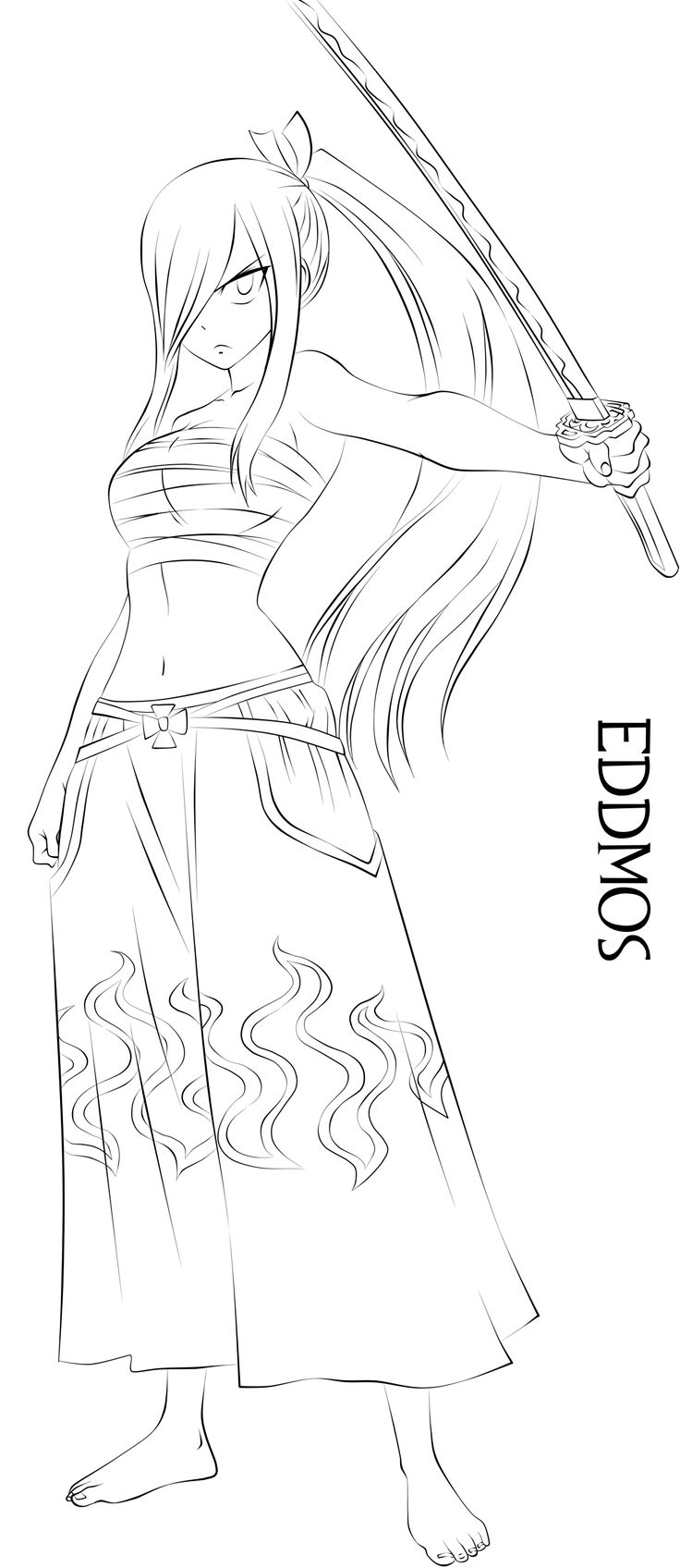 Here's my sword- Erza Scarlet Lineart by eddmos on DeviantArt