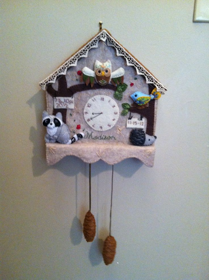 Felt cuckoo clock for my niece. Has all of her birth stats on it.