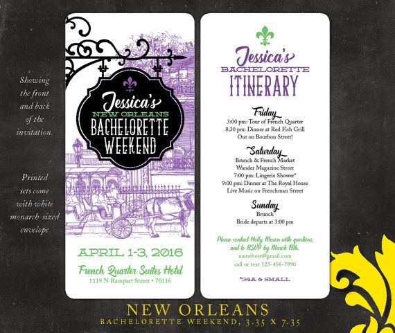 NEW ORLEANS . bachelorette weekend invitation by NealonDesign