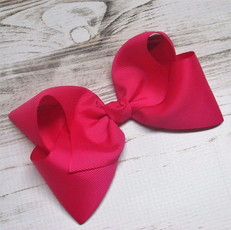 """Girls 6"""" 6 inch Hot Pink Large JUMBO BIG BOUTIQUE Hair Bows Clip Hairbow #Handmade"""