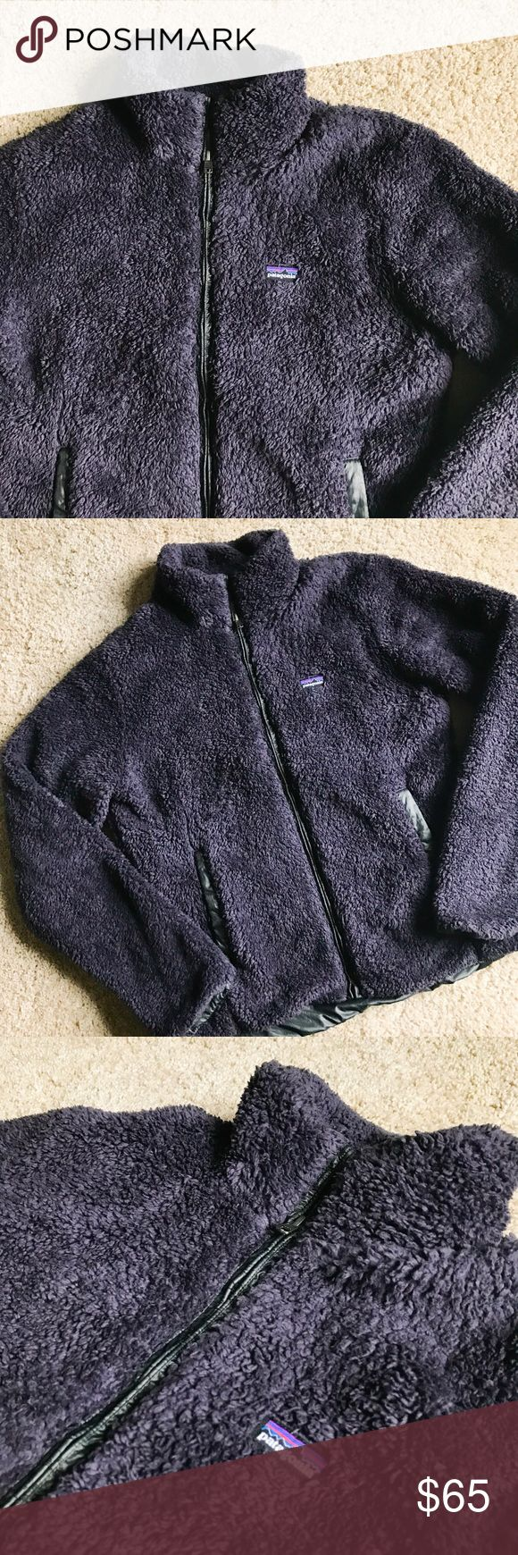 Patagonia Los Gatos Fleece Jacket Cute and cozy fleece jacket from Patagonia. Deep purple color. Size L. Excellent, pre-loved condition. No flaws to note. ------------ Made of deep-pile polyester fleece, trimmed out in sleek taffeta Full-length front zipper and a stand-up collar Long, lean jacket silhouette, with tonal polyester trim at front zip and pockets Princess seams in back for a contoured fit Hip length Patagonia Jackets & Coats