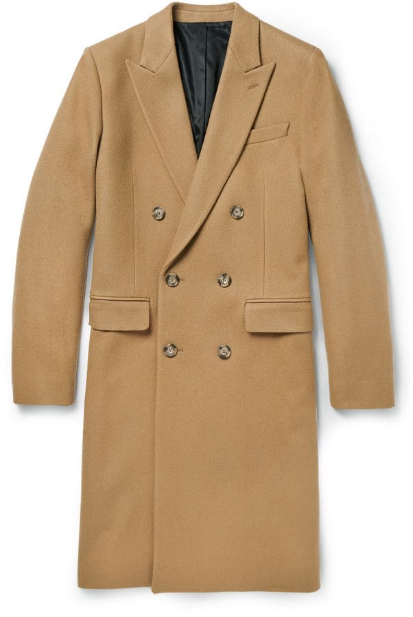 $820, Camel Overcoat: Ami Double Breasted Wool Overcoat. Sold by MR PORTER. Click for more info: https://lookastic.com/men/shop_items/81079/redirect