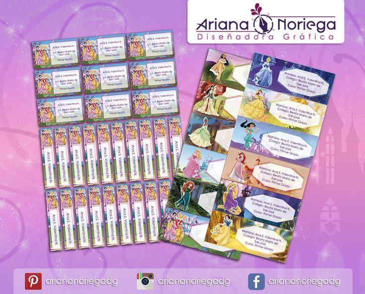 Kit Imprimible de #etiquetas personalizadas con el motivo #PrincesasDisney. | 3 tamaños: 9 x 3,5 cm, 5 x 1 cm y 5 x 3 cm. |   Personalized and printable #labels pack - #DisneyPrincess.  | 3 sizes: 9 x 3,5 cm, 5 x 1 cm and 5 x 3 cm. |   Tienda/Shop: https://www.etsy.com/es/shop/ArianaDesignStore