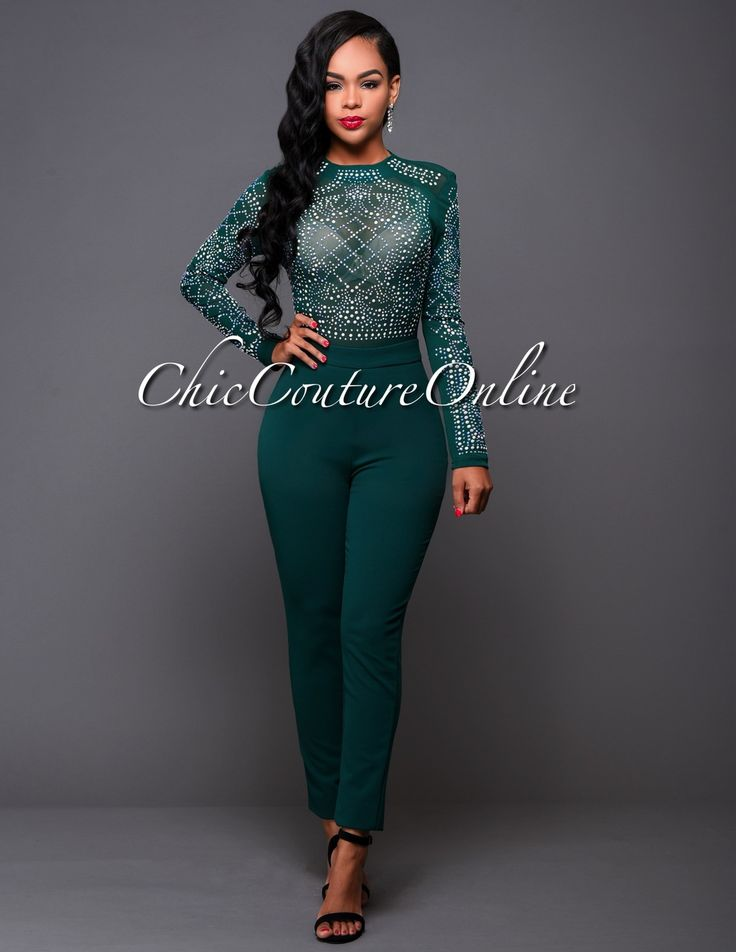 Chic Couture Online After Party Hunter Green Iridescent
