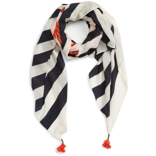 Women's Tory Burch Nautical Logo Oblong Wool Scarf ($195) ❤ liked on Polyvore featuring accessories, scarves, navy, striped shawl, nautical scarves, long shawl, navy shawl and wool shawl