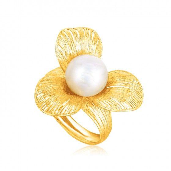 Italian Design 14K Yellow Gold Filament Trefoil Pearl Ring