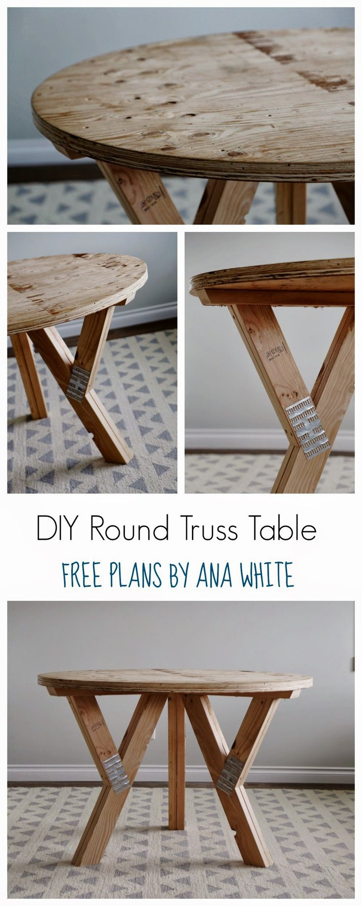 white round tables white distressed kitchen table Ana White Build a Y Truss Round Table Free and Easy DIY Project and