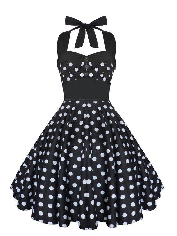b4ba93a6f50 Plus Size Dress Rockabilly Dress Black Polka Dot Dress Swing Dress Pin Up Dress  Vintage 50s Dress Re