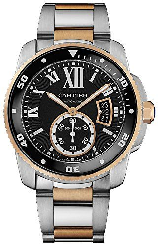 #cartiercalibre #cartierwatchesformen #mensluxurywatches Cartier Calibre Black Dial Steel and Rose Gold Mens Watch W7100054 Check https://www.carrywatches.com