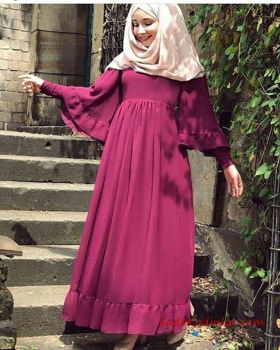 ff4137ea1ce6a Tesettür Elbise Modelleri Fuşya Uzun Koları Volanlı Fırfırlı Kloş Etekli