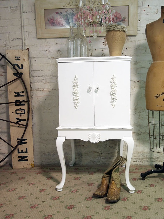 Painted Cottage Chic Shabby White One of A Kind by paintedcottages, $195.00