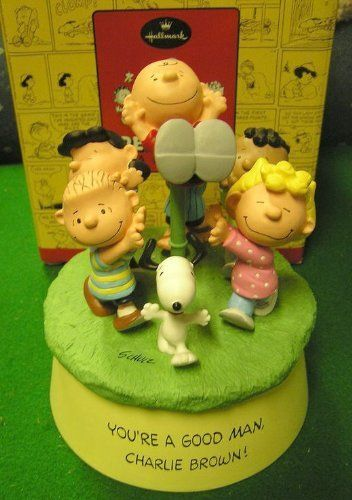 "Hallmark Peanuts Gallery - A Good Man Charlie Brown MUSICAL Figurine Limited Edition by Hallmark. $169.99. Features MUSIC (Peanuts Theme Song) & MOVEMENT. Hallmark Peanuts Gallery Charlie Brown, Snoopy & Gang. Limited Edition and Hand-Numbered. ""A GOOD MAN"" Musical Figurine. Large! Measures 6-1/2"" in height and the base has a 5"" diameter.. This collectible has become VERY HARD TO FIND!  This is a very special, limited edition, boxed Hallmark Peanuts Gallery Music..."