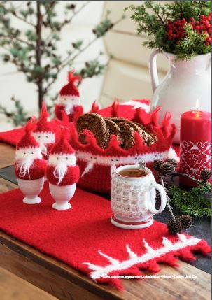 Crocheted and felted christmas table decorations from Dale Garn's Christmas Book 305.  Yarn and book available from Kidsknits.com.
