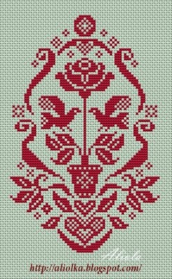 Potted rose cross stitch mono